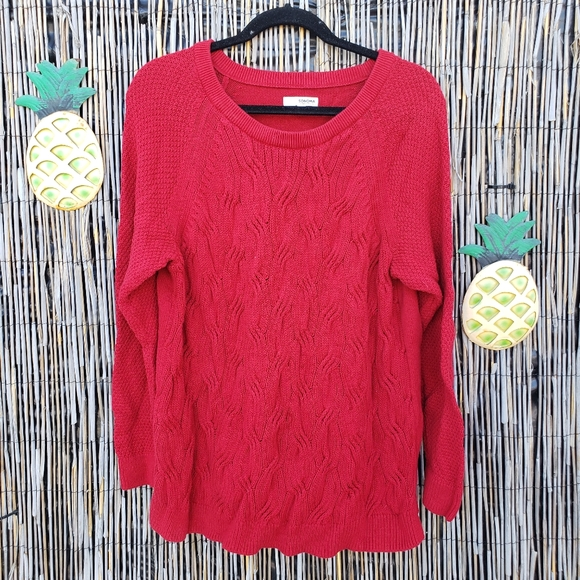 Sonoma Ribbed classic winter red crew neck sweater Size XXL